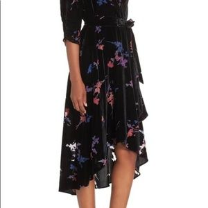Velvet Floral Faux Wrap Dress